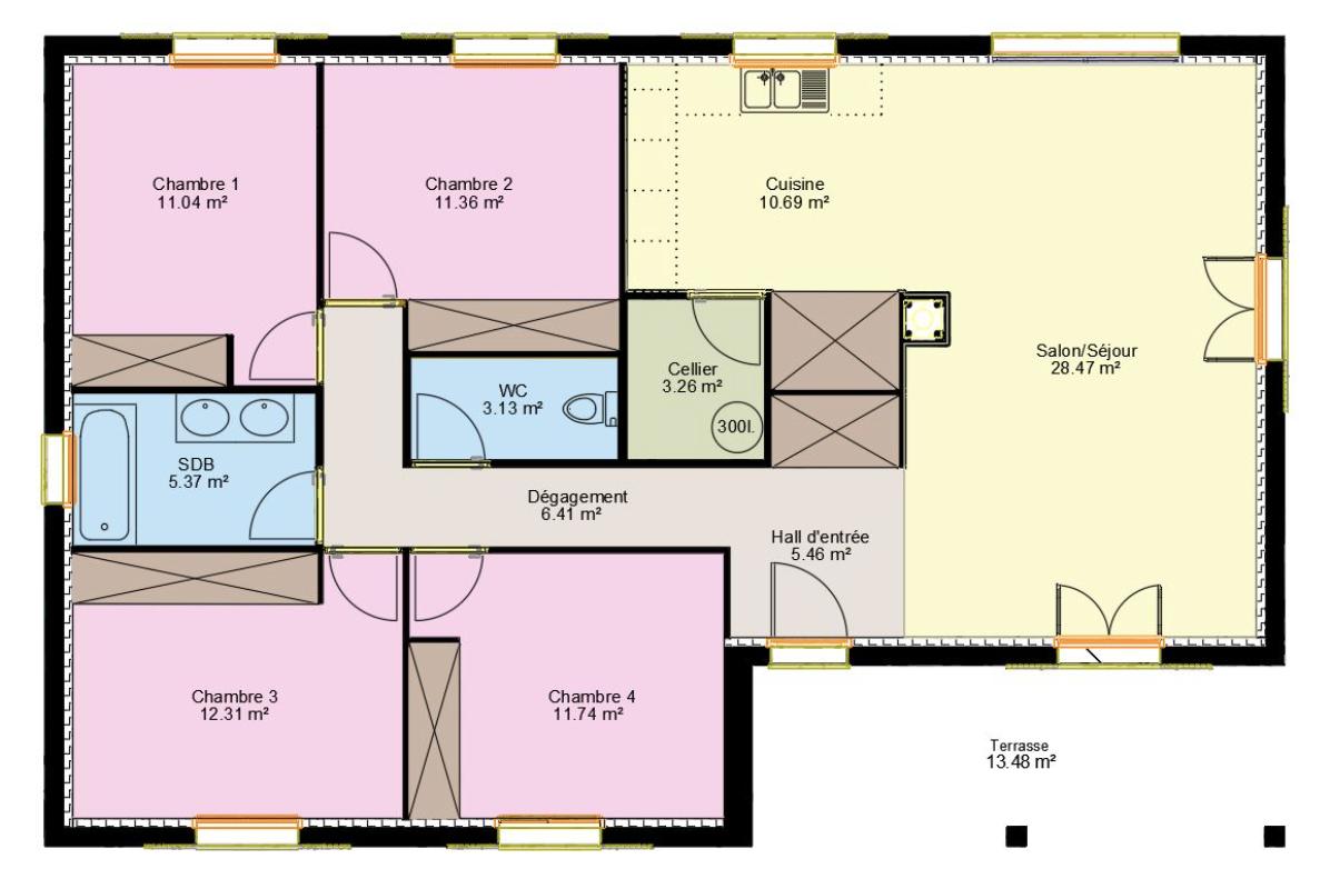 Maison T4 de 110m2 + Terrain   Maisons Corsea